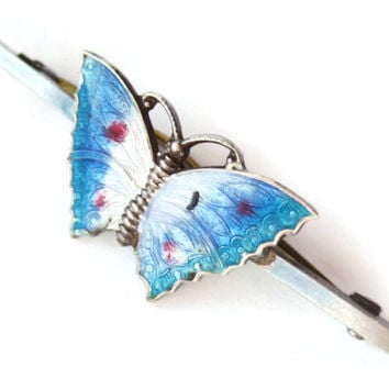 Vintage Art Deco enamel and silver butterfly bar brooch, guilloche enamel, 1930s brooch, 'c' catch, blue and white butterfly pin,  #186.