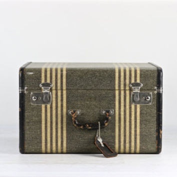 Vintage Tweed Striped Suitcase, Vintage Suitcase, Suitcase, Old Suitcase, Luggage, Old Luggage, Olive Green Suitcase, 1940's Suitcase
