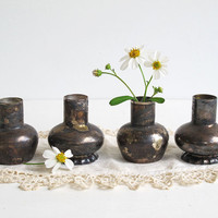 4 Small Vintage Silver Plate Vases