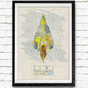 Star Wars Jedi Starfighter Watercolor Art Print, Starship Art Print, Watercolor Poster, Home Decor, Not Framed, Buy 2 Get 1 Free!