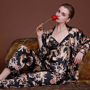 CREYCI7 Top Grade Beand New Womens Silk Sleep & Lounge Three-piece Suit  Sexy Lingerie Classic Nightgown Sleepwear Pajama Sets 04101