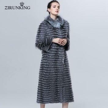 ZIRUNKING Autumn Winter Luxury X-Long Style Real Silver Fox Fur Coat Natural Color Fur Collar Stripped Syle Outerwear ZCW-18YL
