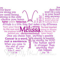 Personalized Cancer Fighter Butterfly Art, Cancer Butterfly Word Art, Unique Handmade Word Art Typography,  PRINTABLE DIGITAL FILE