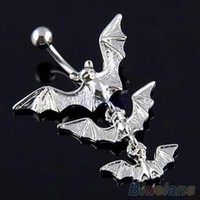 ac PEAPO2Q Gothic Flying Bats Body Piercing Jewelry Dangle Bar Belly Navel Button Ring  4D2K