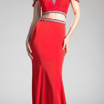 Red Cold-Shoulder Crop Top Two-Piece Long Prom Dress