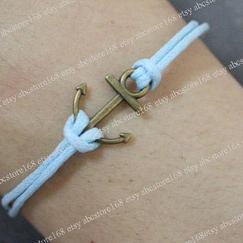 Antique Bronze Anchor Bracelet-Anchor Charm Bracelet-Adjustable Blue Rope Bracelet