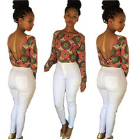 Multi Color Geometric Print Backless Long Sleeve Casual Top