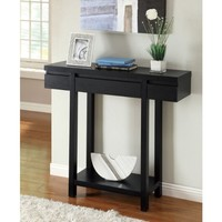 Logan Black Finish Console Sofa Entry Table with Drawer