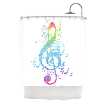 "Frederic Levy-Hadida ""Rainbow Key"" Multicolor Music Shower Curtain"