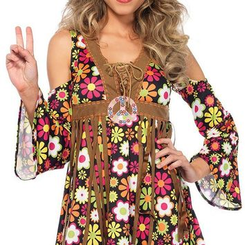 Hippie Dreams Brown Floral Pattern Long Bell Sleeve Cold Shoulder Lace Up V Neck Fringe Shift Mini Dress Halloween Costume