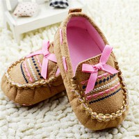 Newborn Shoes Brown Casual Infant Baby Shoes Soft Sole Toddler Cotton Crib Shoes Pre-walker 0-18M