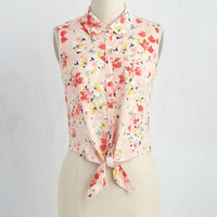 Wildflower Walk Top in Rose | Mod Retro Vintage Short Sleeve Shirts | ModCloth.com