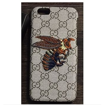 iPhone7 mobile phone shell leather embroidery small bee Iphone 6plus protective sleeve 6S fashion drop GUCCI