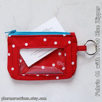 ID Wallet (Fabric 41) featuring Zipper Closure, Vinyl Window & Key Ring Student Badge Holder Coin Purse Medium White Polka Dots Red Fabric