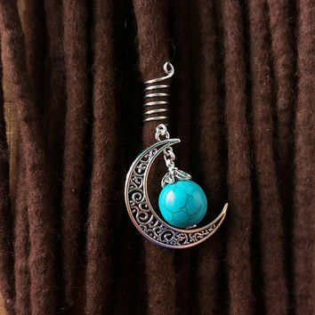Turquoise stone jewelry, moon, wicca dread beads, dreadlock beads,witchcraft, boho hair jewelry, wire hair beads, pagan jewelry