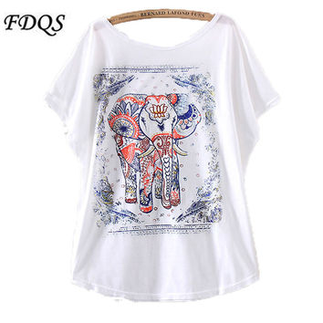 New summer Women Tops Korean version blue and white porcelain elephant print summer crop tops loose short sleeve t shirts women