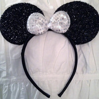 Minnie Mouse Ears Headband Black Sparkle Silver White Sequin Bow Mickey Mouse Ears, Disneyland, Disney World