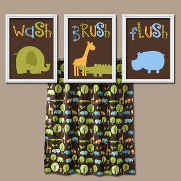 Jungle Animal BATHROOM Wall Art, Canvas or Prints Boy Girl Child Bathroom, Safari Zoo Wash Brush Elephant Giraffe Alligator Hippo Set of 3
