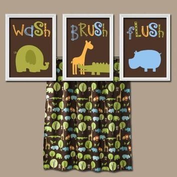 Jungle Animal BATHROOM Wall Art, Canvas or Prints, Child Kid Bathroom Decor, Safari Animal Bath, Wash Brush Flush Bathroom Rules, Set of 3