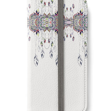 iPhone 6 Wallet Dream Catcher Feathers Design On Front + Back iPhone 6S Plus Case White Pattern Boho Tribal Woman's Lady Wallet Gift For Her