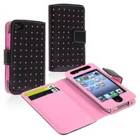 eForCity Wallet Leather Case compatible with Apple iPhone 4 / 4S, Black / Pink Dot - Retail Packaging - Pink