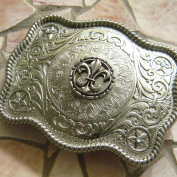Fleur De Lis Belt Buckle, Silver Western Engraved Womens Mens Belt Buckle, Mardi Gras Silver Belt, New Orleans Saints Football