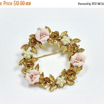 Vintage 1928 Jewelry Brooch Pink Roses Faux Pearls Costume Jewelry Brooch Gold Tone Metal Ceramic Porcelain Flowers Lucite Pearls Pretty!