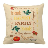 Thanksgiving Harvest Text Art Pillow