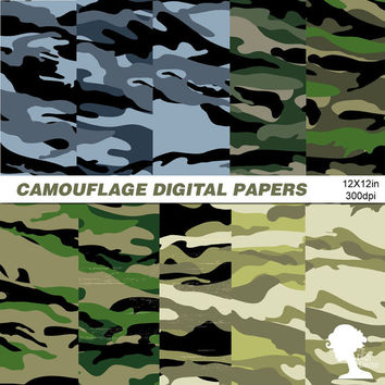 Digital Papers: INSTANT DOWNLOAD Military Camouflage in Blue, Green & Khaki for Scrapbooking