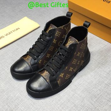 LV Louis Vuitton Men High Top Leather Monogram Casual Boots Sneakers Sport Shoes Boots brown