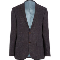 River Island MensDark purple crosshatch slim suit jacket
