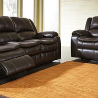 2 pc long knight collection brown colored faux leather upholstered sofa and love seat set with power motion recliners on the ends