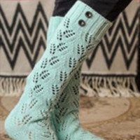 Pointelle Knit Button Knee High Long Lace socks