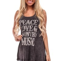 Black Distressed Country Music Long Tank