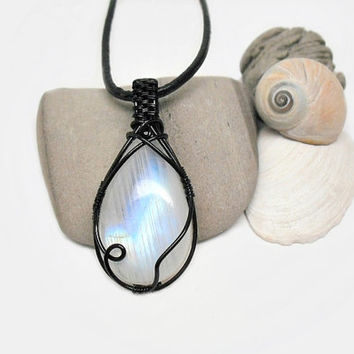 OOAK Moonstone necklace, wire wrapped rainbow moonstone, black coated copper wire wrap, black leather necklace, unique necklace for women