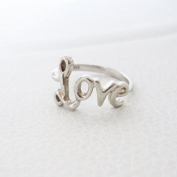 Sterling Silver Love Ring Wedding Band Inspirational Statement Silver Unique Boho Wedding Vintage Promise Ring