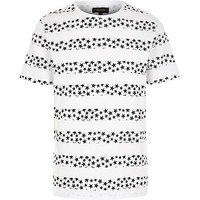 River Island MensWhite star stripe print short sleeve t-shirt