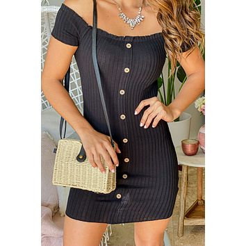 Black Ribbed Short Dress with Buttons