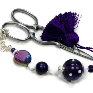 Scissor Fob, Beaded, Purple, White, Cross Stitch, Needlepoint, Sewing Accessory, Quilting, Crafty Supplies
