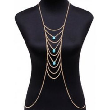 Faux Turquoise Water Drop Body Chain