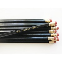 Hot. Fucking. Mess. Wooden Pencil Set in Black
