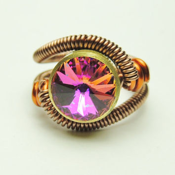 Bullet Casing wire ring - steampunk jewelry - cathedral pink litmus swarovski crystal - steampunk ring by Dereck Maltez