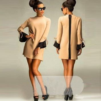Long-Sleeve Loose Zipper-Back Dress