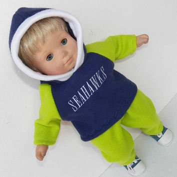 bitty baby doll clothes, football fan seattle, green and navy blue, hooded pullover sweatshirt & polar fleece pants, adorabledolldesigns