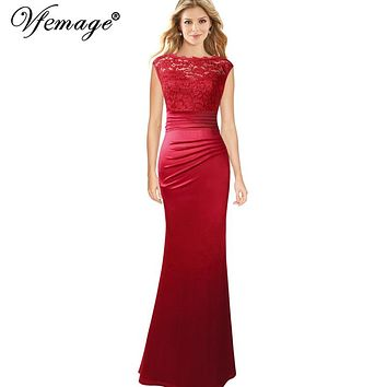 823fd536043 Vfemage Womens Floral Lace Ruched Pleated Cap Sleeves Formal Eve