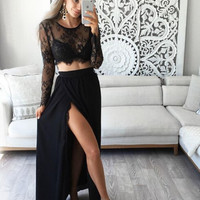Two Piece High Slit Sexy Black Prom Dress with Full Sleeve Sheer Prom Dress