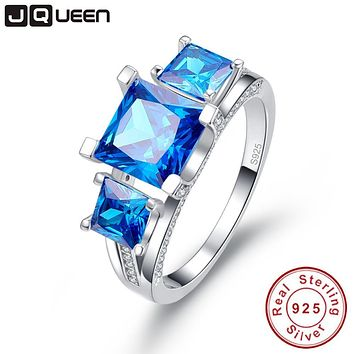 JQUEEN 2.5 Ct Emerald Cut Natural Blue Topaz 3 Stones Wedding Ring 925 Sterling Silver Engagement Rings For Women with gift box