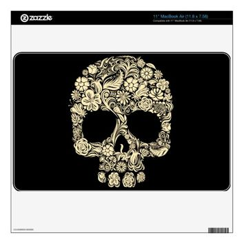 Vintage Floral Sugar Skull MacBook Air Skin