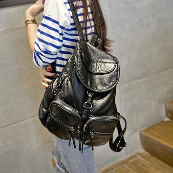 Soft Leather Vintage Black Backpack Daypack Travel Bag Motorcycle Bag