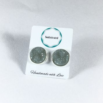 Faux Druzy Stud Earrings Silver Tone 12mm Dove Gray Drusy Resin Nugget STyle